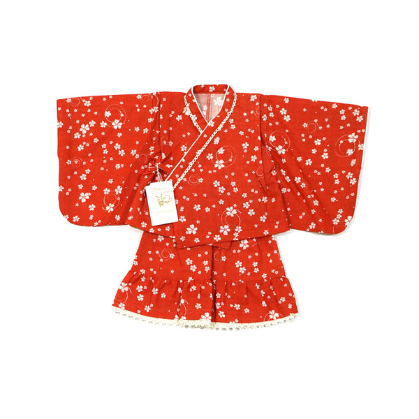 [30% off SALE] Ikuji Kobo-オーガニックコットン知多木綿・浴衣スカート【花渦巻】Organic Cotton Chita Momen Yukata skirt (Flower swirl)