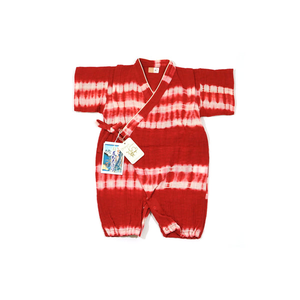 Ikuji Kobo-オーガニックコットン知多木綿甚平オール【有松絞り-赤】Organic Cotton Chita Momen Jinbei Dress (Arimatsu Shibori/Red small stripe)