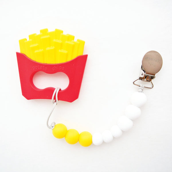 Loulou Lollipop-ホルダー付き歯固め(フライドポテト) Burger Silicone Teethers