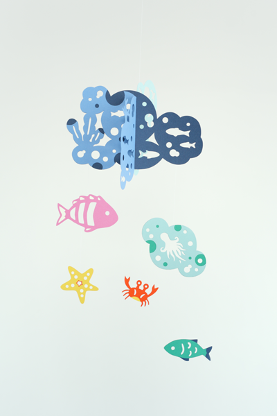 Manu Mobiles モビール【海の仲間たち】Paper Mobile: Happy bubbles