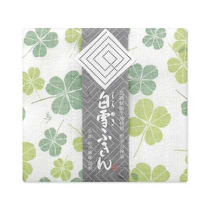 Shirayuki Fuukin 友禅ふきん【クローバー/若葉・柿】 -Yuzen Fuukin (dish cloth) - Clover/green, Persimmon
