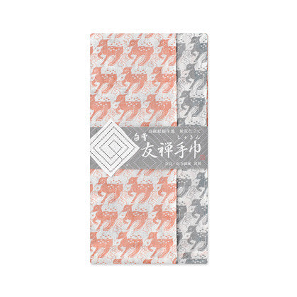 "[30% off SALE] Shirayuki Fuukin 友禅手巾【鹿】-reversible Yuzen ""shukin"" (face towel)- Deer"