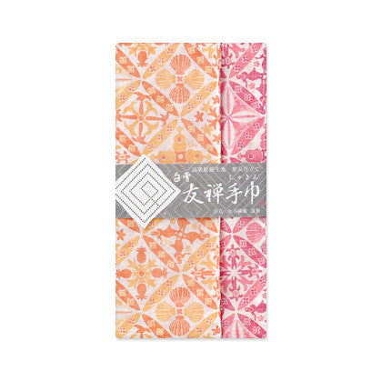 "Shirayuki Fuukin 友禅手巾【ハワイアンキルト】-reversible Yuzen ""shukin"" (face towel)- Hawaiian Quilt"