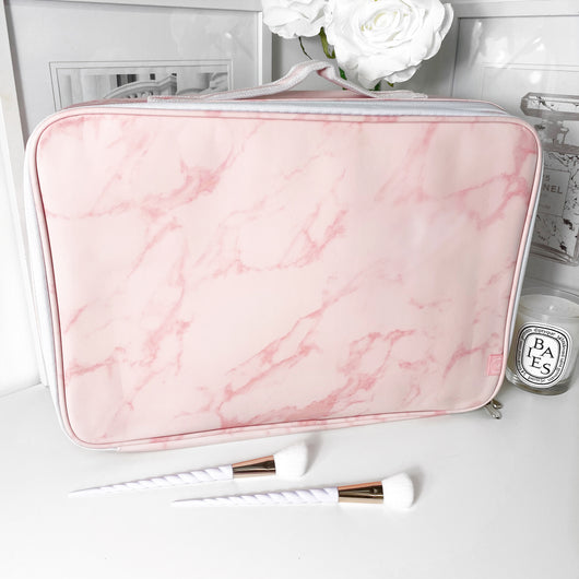 LARGE VC MAKEUP BAG - PINK MARBLE