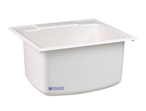 Mustee Drop-In 25 inch x 22 inch Single Bowl Laundry/Utility Sink 10C White