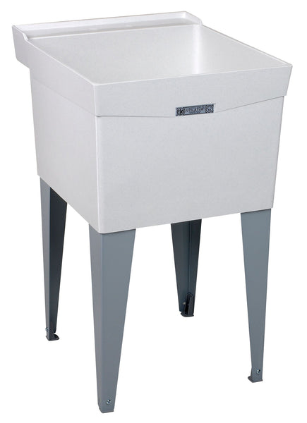 Mustee single bowl utility/laundry tub floor standing 18F White