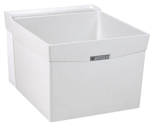 Mustee single bowl utility/laundry tub wall mount 18W White
