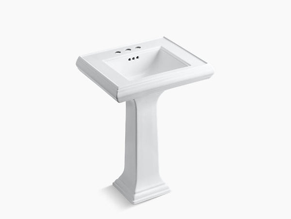 Kohler Memoirs Classic 24 inch Bathroom Pedestal Sink with 4 inch Centerset Faucet Holes K-2238-4-0 White