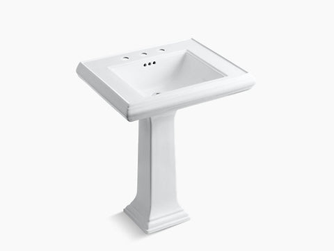 Kohler Memoirs Classic 27 inch Bathroom Pedestal Sink with 8 inch Widespread Faucet Holes K-2258-8-0 White
