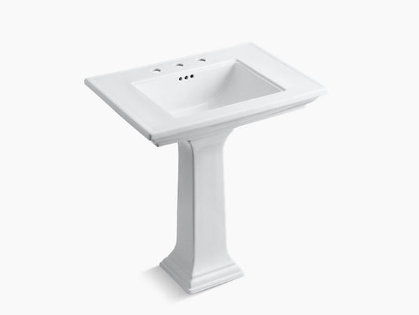 Kohler Memoirs Stately 30 inch Bathroom Pedestal Sink with 8 inch Widespread Faucet Holes K-2268-8-0 White