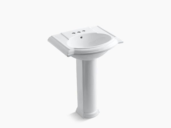 Kohler Devonshire 24 inch Bathroom Pedestal Sink with 4 inch Centerset Faucet Holes K-2286-4-0 White