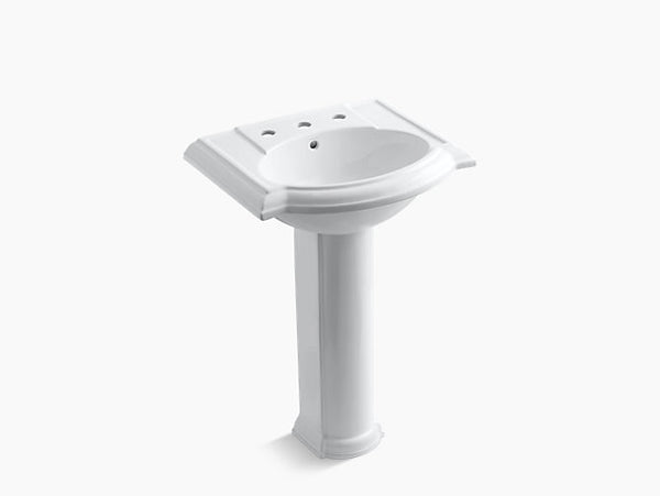 Kohler Devonshire 24 inch Bathroom Pedestal Sink with 8 inch Widespread Faucet Holes K-2286-8-0 White