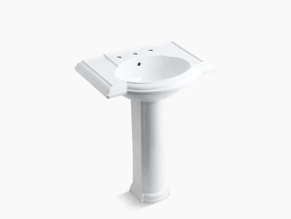 Kohler Devonshire 27 inch Bathroom Pedestal Sink with 8 inch Widespread Faucet Holes K-2294-8-0 White
