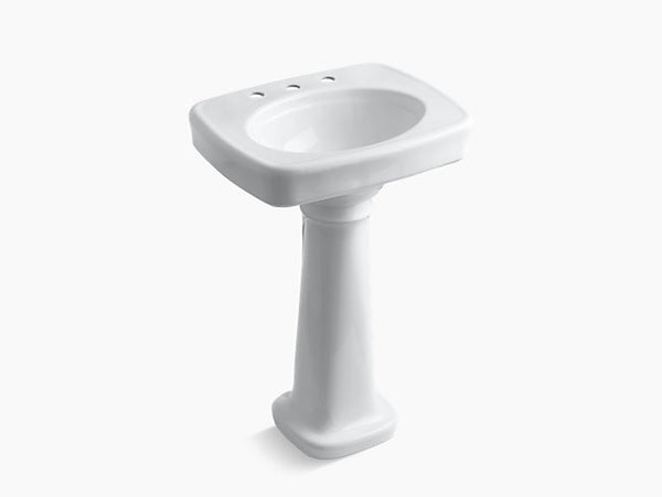 Kohler Bancroft 24 inch Bathroom Pedestal Sink with 8 inch Widespread Faucet Holes K-2338-8-0 White
