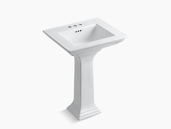 Kohler Memoirs Stately 24 inch Bathroom Pedestal Sink with 4 inch Centerset Faucet Holes K-2344-4-0 White