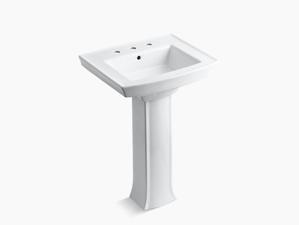 Kohler Archer Bathroom Pedestal Sink with 8 inch Widespread Faucet Holes K-2359-8-0 White