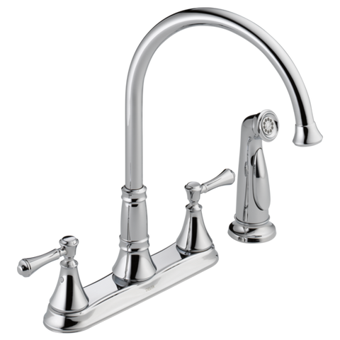 Delta Cassidy Two Handle Kitchen Faucet with Side Spray 2497LF Chrome