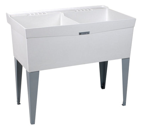 Mustee double bowl utility/laundry tub floor standing 26F White