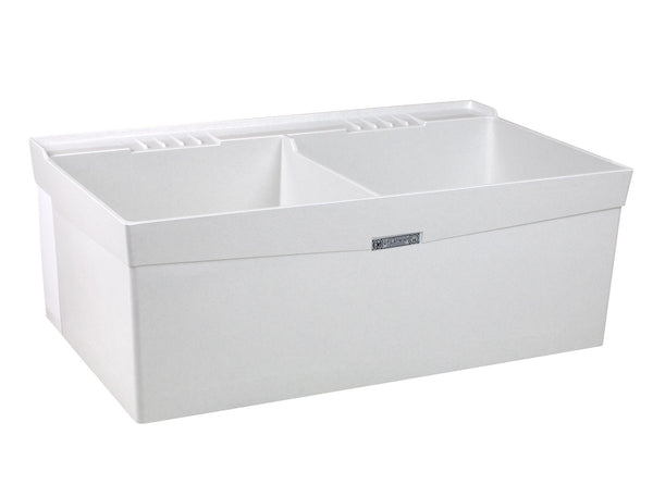 Mustee double bowl utility/laundry tub wall mount 26W White