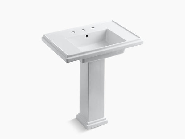 Kohler Tresham 30 inch Bathroom Pedestal Sink with 8 inch Widespread Faucet Holes K-2845-8-0 White