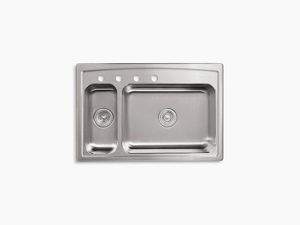 Kohler Toccata Drop-In Stainless Steel Double Bowl Sink with 4 Faucet Holes K-3347L-4-NA