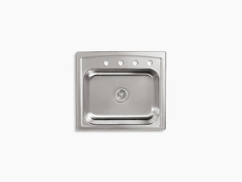 Kohler Toccata Drop-In Stainless Steel Single Bowl Kitchen Sink with 4 Faucet Holes K-3348-4-NA