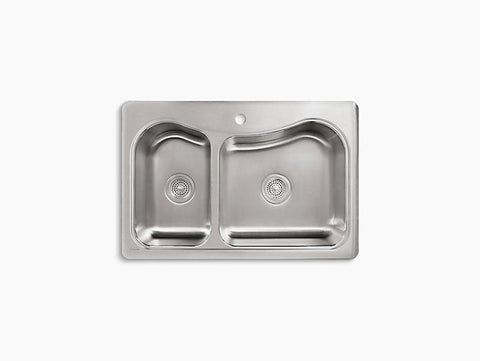 Kohler Staccato Drop-In Stainless Steel Double Bowl Kitchen Sink with One Faucet Hole K-3361-1-NA