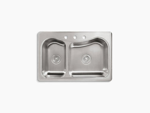 Kohler Staccato Drop-In Stainless Steel Double Bowl Kitchen Sink with 3 Faucet Holes K-3361-3-NA