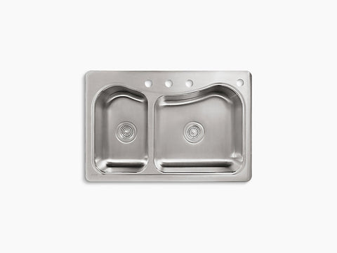 Kohler Staccato Drop-In Stainless Steel Double Bowl Kitchen Sink with 4 Faucet Holes K-3361-4-NA