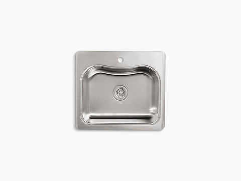 Kohler Staccato Drop-In Stainless Steel Single Bowl Kitchen Sink with One Faucet Hole K-3362-1-NA