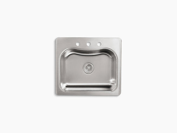 Kohler Staccato Drop-In Stainless Steel Single Bowl Kitchen Sink with 3 Faucet Holes K-3362-3-NA
