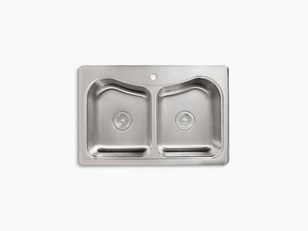 Kohler Staccato Drop-In Stainless Steel Equal Double Bowl Kitchen Sink with One Faucet Hole K-3369-1-NA
