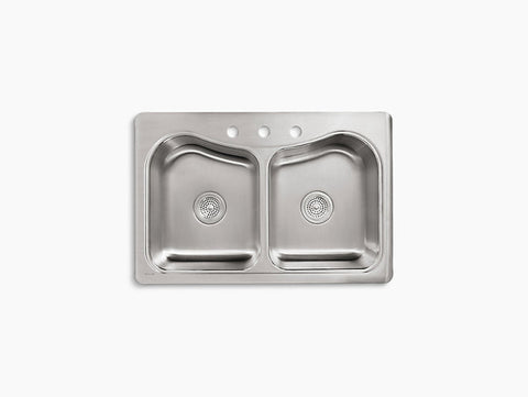 Kohler Staccato Drop-In Stainless Steel Equal Double Bowl Kitchen Sink with 3 Faucet Holes K-3369-3-NA