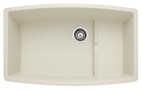 Blanco Silgranit Performa Cascade - Super Single Bowl Undermount Kitchen Sink Biscuit 440065