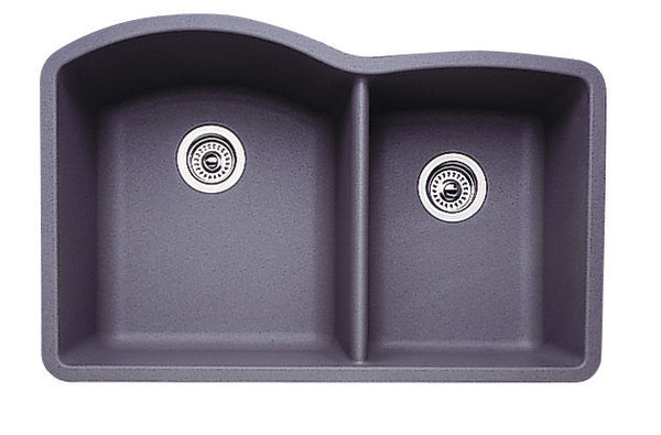 Blanco Silgranit Diamond - Undermount Kitchen Sink, 1-3/4 Bowl Metallic Gray 440178
