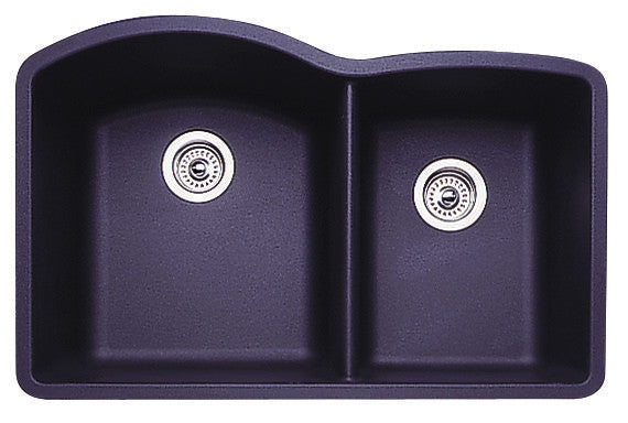 Blanco Silgranit Diamond - Undermount Kitchen Sink, 1-3/4 Bowl Anthracite 440179