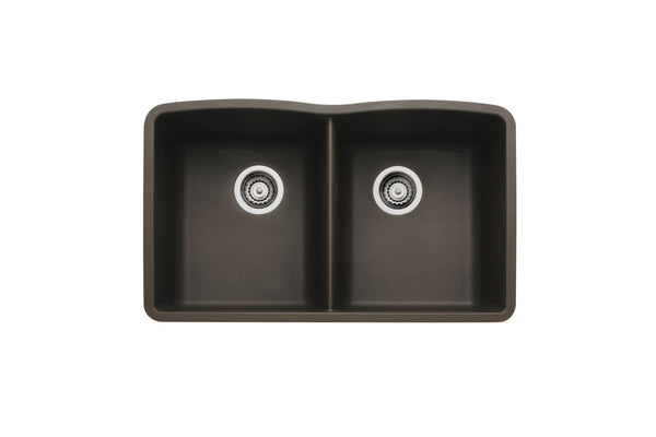 Blanco Silgranit Diamond - Undermount Kitchen Sink, Equal Double Bowl Cafe Brown 440182