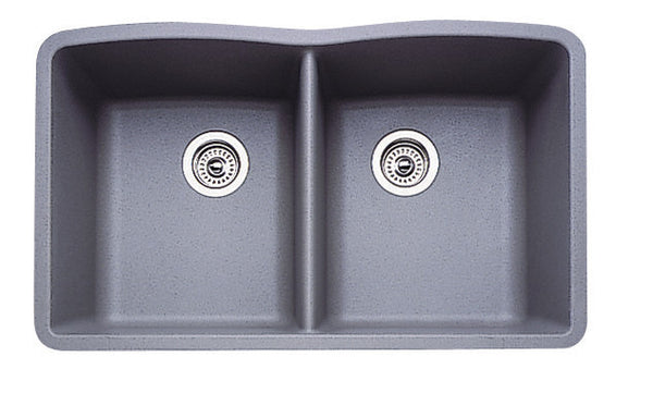 Blanco Silgranit Diamond - Undermount Kitchen Sink, Equal Double Bowl Metallic Gray 440183