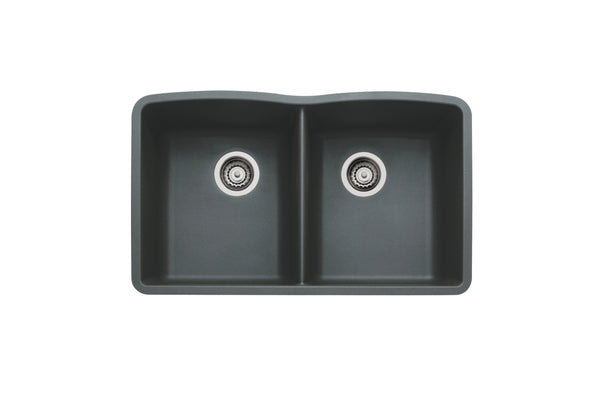 Blanco Silgranit Diamond - Undermount Kitchen Sink, Equal Double Bowl Anthracite 440184