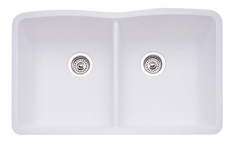 Blanco Silgranit Diamond - Undermount Kitchen Sink, Equal Double Bowl White 440185
