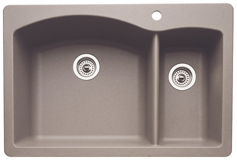 Blanco Silgranit Diamond - Dual Deck Kitchen Sink, 1-1/2 Bowl Metallic Gray 440198