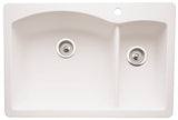 Blanco Silgranit Diamond - Dual Deck Kitchen Sink, 1-1/2 Bowl White 440200