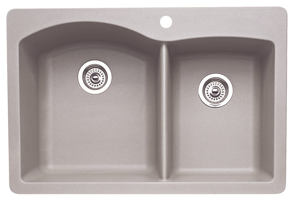 Blanco Silgranit Diamond - Dual Deck Kitchen Sink, 1-3/4 Bowl Metallic Gray 440214