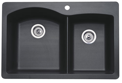 Blanco Silgranit Diamond - Dual Deck Kitchen Sink, 1-3/4 Bowl Anthracite 440215