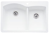 Blanco Silgranit Diamond - Dual Deck Kitchen Sink, 1-3/4 Bowl White 440216