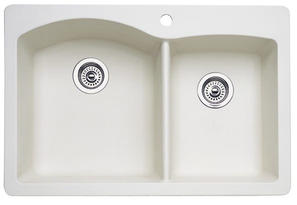 Blanco Silgranit Diamond - Dual Deck Kitchen Sink, 1-3/4 Bowl Biscuit 440217