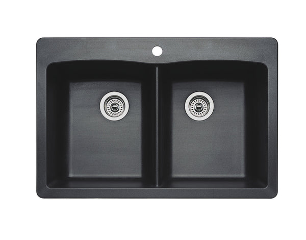 Blanco Silgranit Diamond - Dual Deck Kitchen Sink, Equal Double Bowl Anthracite 440220