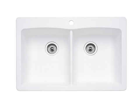 Blanco Silgranit Diamond - Dual Deck Kitchen Sink, Equal Double Bowl White 440221