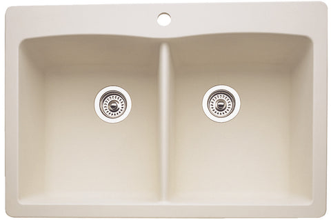 Blanco Silgranit Diamond - Dual Deck Kitchen Sink, Equal Double Bowl Biscuit 440222