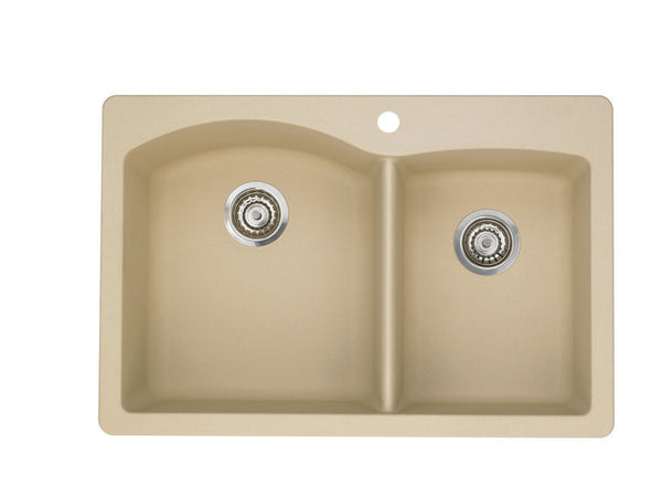 Blanco Silgranit Diamond - Dual Deck Kitchen Sink, 1-3/4 Bowl Biscotti 441216